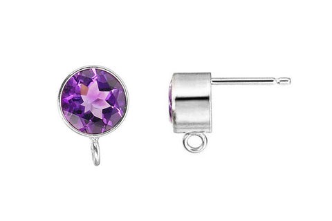 Sterling Silver Post Earring, 6.0mm Amethyst Bezel w/Ring