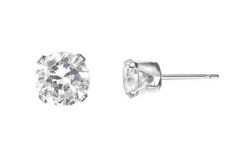 Sterling Silver Post Earring, 6.0mm Snap-in Setting w/CZ
