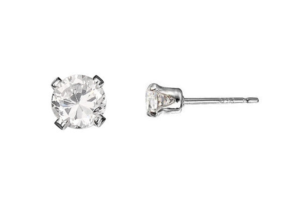 Sterling Silver Post Earring, 4.0mm Snap-in Setting w/CZ