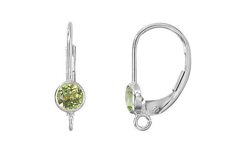 Sterling Silver Leverback, Peridot Bezel Setting w/Ring, 4.0mm