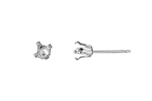 Sterling Silver Post w/4.0mm Snap-in Setting, 21 Gauge