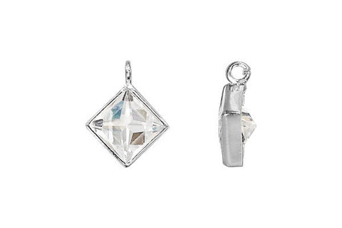 Sterling Silver Princess Cut CZ Drop, 6.0mm