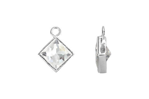 Sterling Silver Flat Princess Cut CZ Drop, 6.0mm