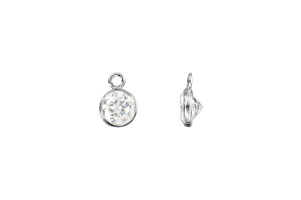 Sterling Silver Flat CZ Drop, 4.0mm
