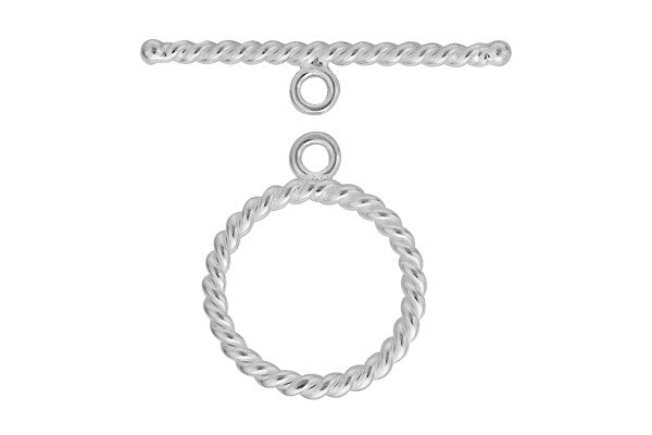Sterling Silver Twisted Toggle Clasp, 2.8x25.0mm