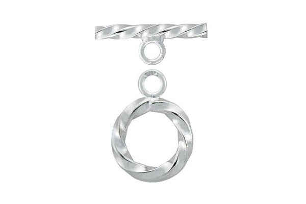 Sterling Silver Twisted Toggle Clasp, 3.0x16.0mm