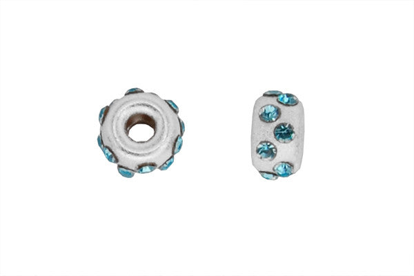 Sterling Silver Satin Rondelle Bead w/Crystals, March, 5.0mm