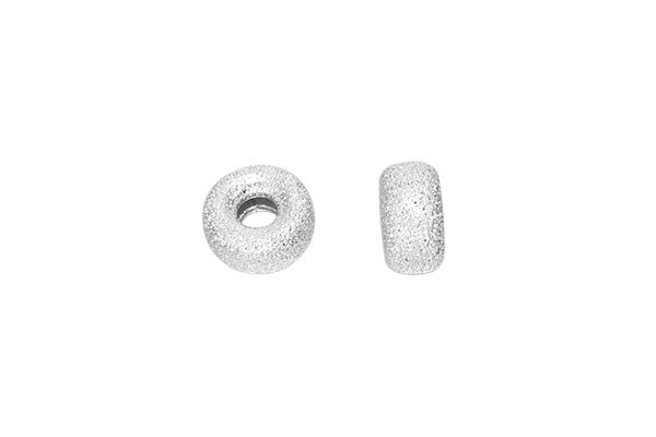 Sterling Silver Stardust Rondelle Bead, 5.3x2.8mm