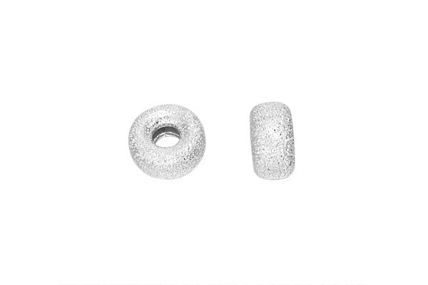 Sterling Silver Stardust Rondelle Bead, 6.3x3.1mm