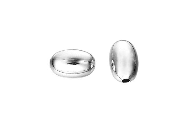 Sterling Silver Oval Bead, 5.0x8.0mm