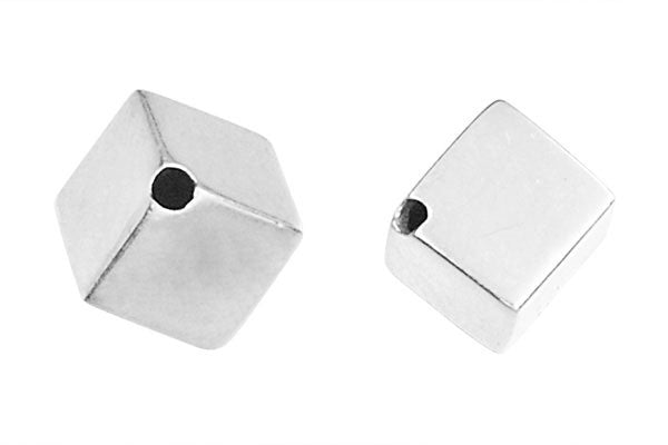 Sterling Silver Diagonal Cube, 8.0mm