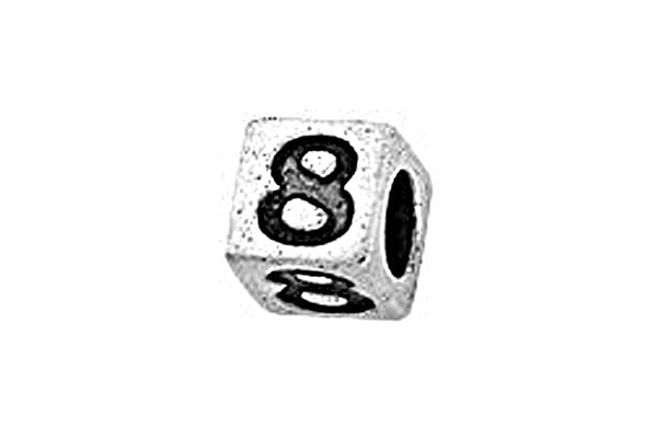 Sterling Silver Alphabet Number 8 Cube, 5.1mm