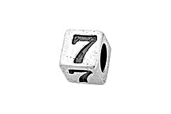 Sterling Silver Alphabet Number 7 Cube, 5.1mm