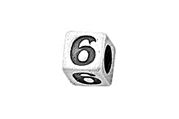 Sterling Silver Alphabet Number 6 Cube, 5.1mm