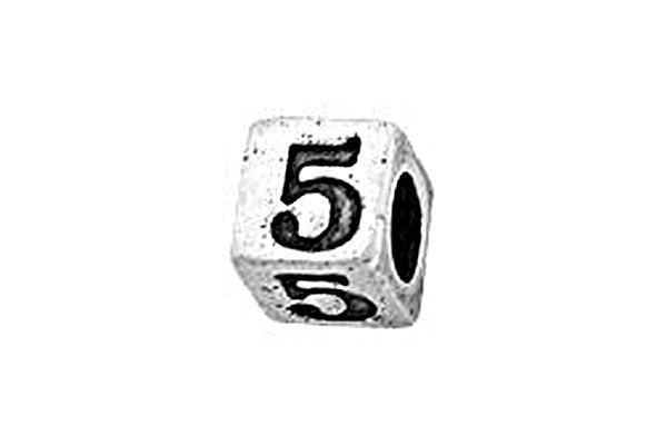 Sterling Silver Alphabet Number 5 Cube, 5.1mm