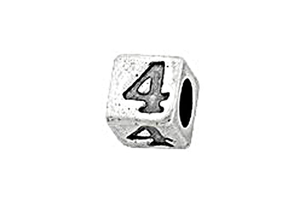 Sterling Silver Alphabet Number 4 Cube, 5.1mm