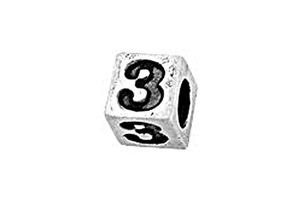 Sterling Silver Alphabet Number 3 Cube, 5.1mm