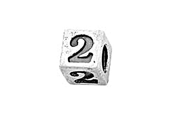 Sterling Silver Alphabet Number 2 Cube, 5.1mm