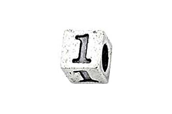 Sterling Silver Alphabet Number 1 Cube, 5.1mm