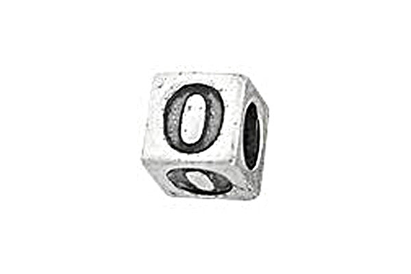 Sterling Silver Alphabet Number 0 Cube, 5.1mm
