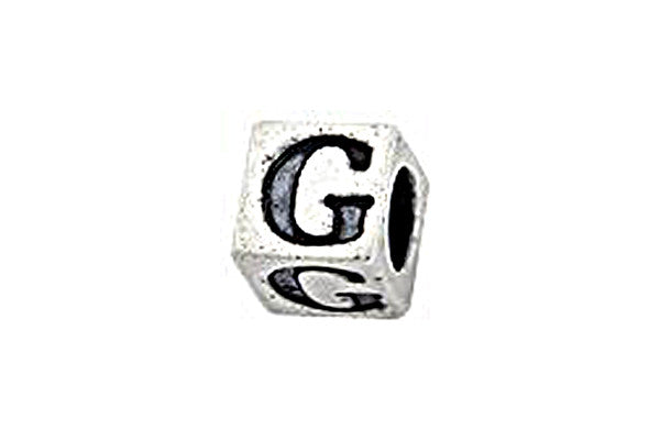 Sterling Silver Alphabet Letter G Cube, 5.1mm