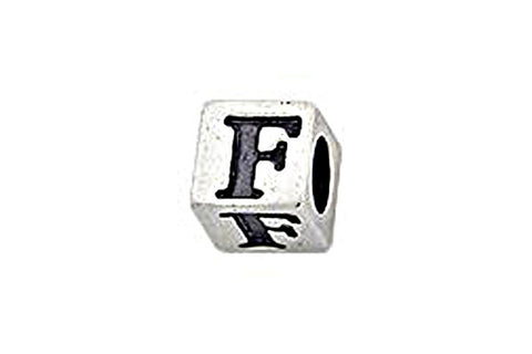 Sterling Silver Alphabet Letter F Cube, 5.1mm