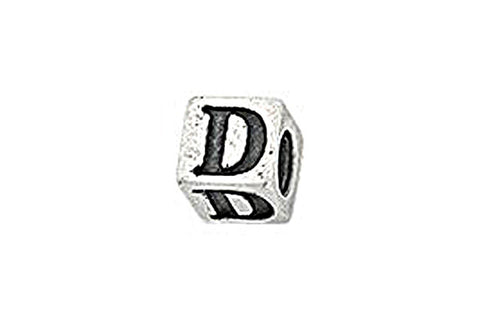 Sterling Silver Alphabet Letter D Cube, 5.1mm