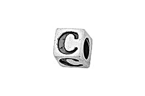 Sterling Silver Alphabet Letter C Cube, 5.1mm