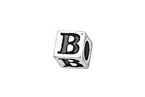 Sterling Silver Alphabet Letter B Cube, 5.1mm
