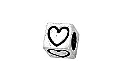 Sterling Silver Alphabet Heart Cube, 5.1mm