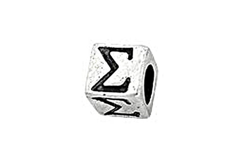 Sterling Silver Alphabet Greek SIGMA Cube, 5.1mm