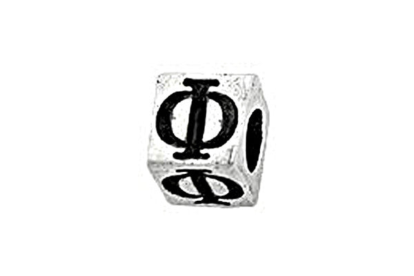 Sterling Silver Alphabet Greek PHI Cube, 5.1mm