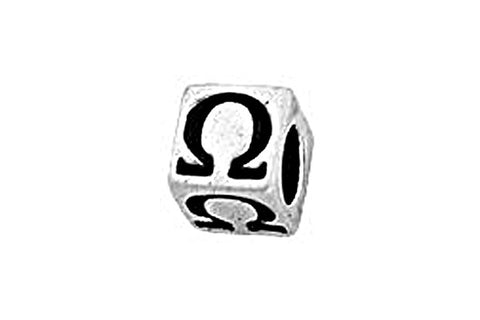Sterling Silver Alphabet Greek OMEGA Cube, 5.1mm