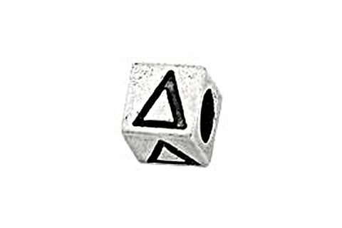 Sterling Silver Alphabet Greek DELTA Cube, 5.1mm