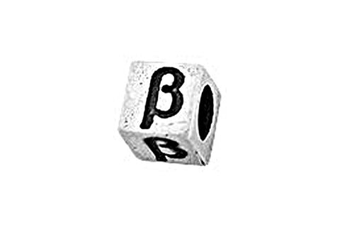Sterling Silver Alphabet Greek BETA Cube, 5.1mm