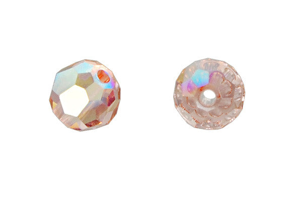 Swarovski Crystal Faceted Round (5000) Vintage Rose (AB)