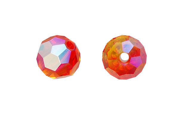 Swarovski Crystal Faceted Round (5000) Fire Opal (AB)