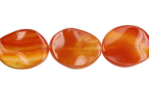 Red Agate Wavy Flat Oval Beads