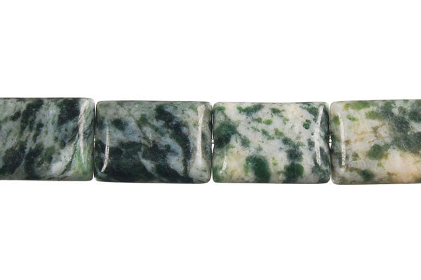 Green Spot Agate Rectangle Beads