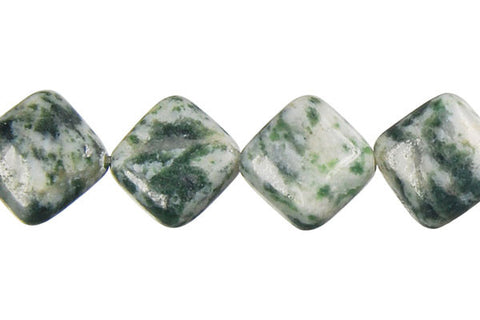 Green Spot Agate Diamond Square Beads