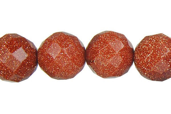 Gold Stone Faceted Round Beads