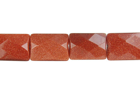 Gold Stone Faceted Rectangle Beads