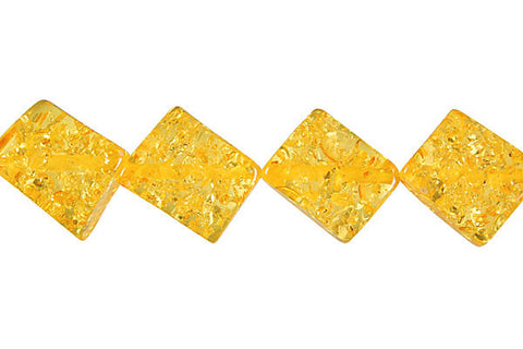 Synthetic Amber (Light) Twist Flat Rectangle (Corner Drilled) Beads