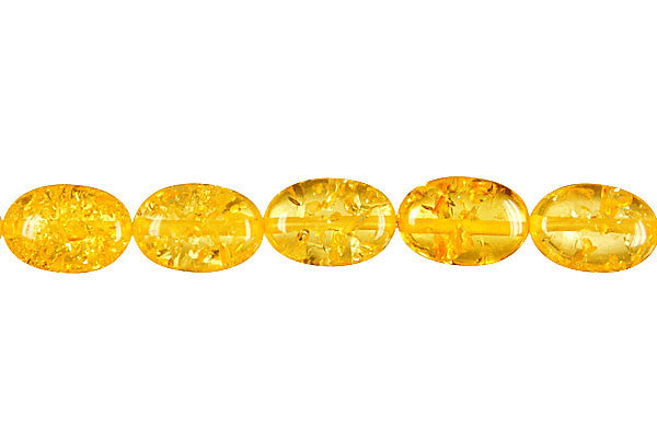 Synthetic Amber (Light) Flat Oval Beads