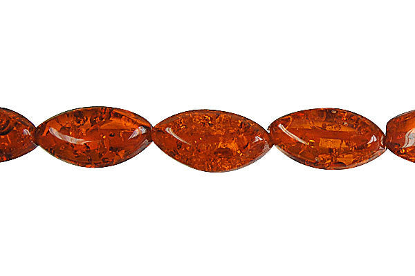 Synthetic Amber (Dark) Mirror Rice Beads