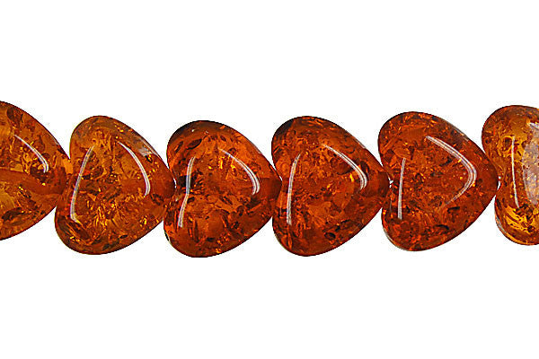 Synthetic Amber (Dark) Heart Beads