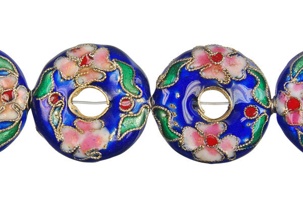 Cloisonne (A) Donut (Blue) Beads
