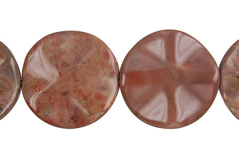 Amber Onyx Wavy Coin Beads