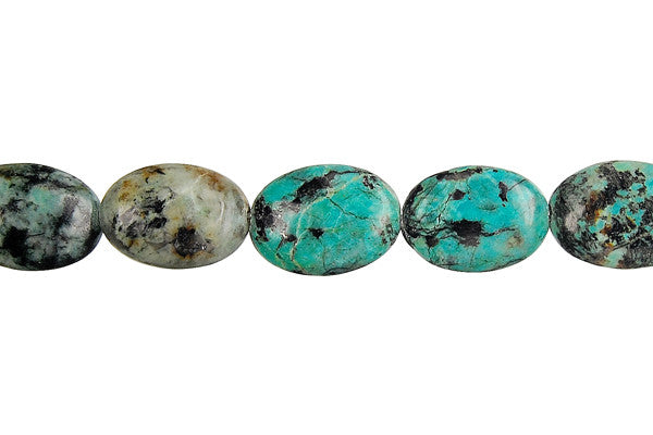 African Turquoise Flat Oval Beads