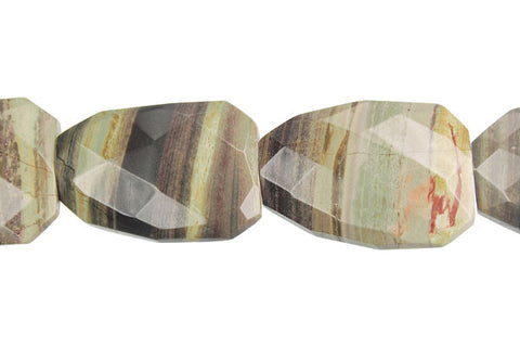 Silvermist Faceted Slab Beads